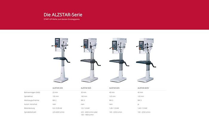 Alzmetall ALZSTAR Tischbohrmaschinen und Säulenbohrmaschinen